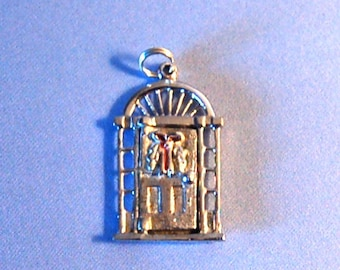 SALE Vintage Christmas Door Charm Opens, Sterling