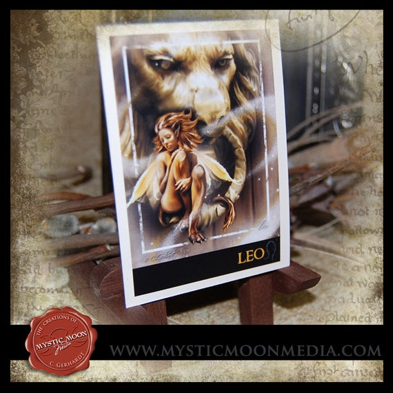 LIMITED...Leo... ACEO / ATC.. Fantasy Picture...Zodiac Collection...Fairy, Lion, July 23 - August 22