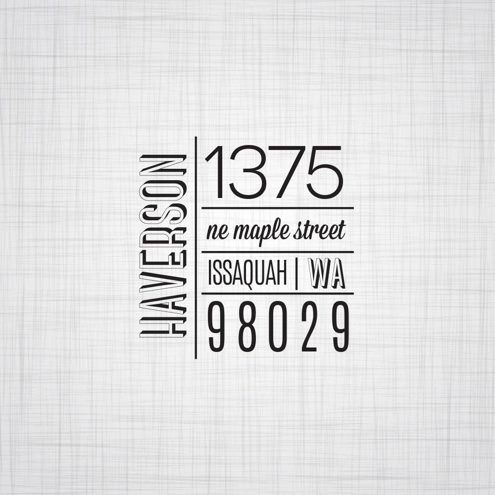 Modern Block Personalized Address Stamp, Wedding Return ...