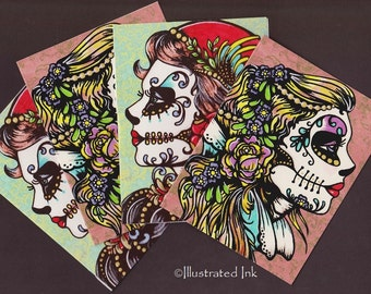 Day of the Dead BEAUTIES Tattoo Flash Folded NOTE CARDS - Set of 4 with Envelopes