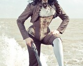 Skeleton Tweed  Leather Corset Steampunk Custom Size