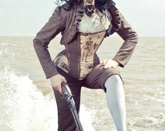 Skeleton Tweed & Leather Corset, Steampunk, Custom Size