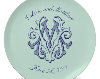 Personalized 10 Inch Melamine Vintage Classic Monogram Plate - FREE Color and Font Customization