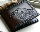 Men's Wallet-Mens Leather Wallet-Tooled Ravens Wallet-Leather Wallet- Men's Raven-Wallet -Tooled Wallets-Leather Wallet-Wallet Wallets-Crow