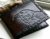 Men's Wallet-Mens Leather Wallet-Tooled Ravens Wallet-Leather Wallet- Men's Raven-Wallet -Tooled Wallets-Leather Wallet-Wallet Wallets-Crow