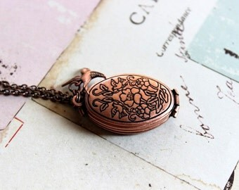 bird floral. locket necklace. copper ox with 4 photo slots in the locket