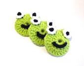 Hot Green Froggie Crocheted Make-Up Removers-Trio