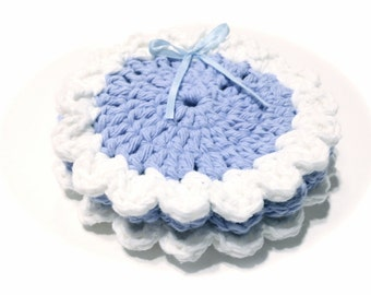 Trio Of Cornflower Blue And White Crocheted Face Scrubbies