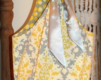 Bucket Style Tote Bag Grey Yellow Cotton Canvas Print Fully Lined Inner Pocket Grey Satin Scarf By Make Mine Pretty