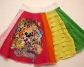 Rainbow Disney Upcycle Twirly Skirt