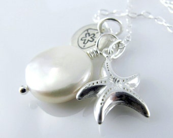 White Sands Necklace - Sterling Silver Star Fish, Coin Fresh Water Pearl, Charm