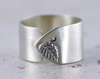 Artistic Leaf Ring - Sterling Silver, Wide Adjustable Band Ring
