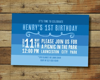 Blue ombre stripe birthday party invitation