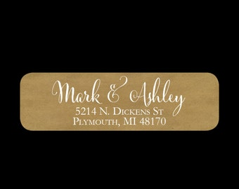 Shabby chic return address labels, kraft return address labels, wedding or thank you note labels, self-adhesive