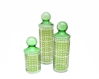 1970s Vintage Glass Storage Jars Green Lattice Glass Canisters Graduated Sizes Set of Three