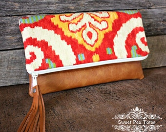 Ikat Upholstery Foldover Clutch / Faux Leather Tassel / Kindle Case