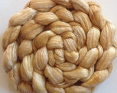 Roving for spinning hand dyed luxury silk blends semi solids  2ozs Straw PRE Order