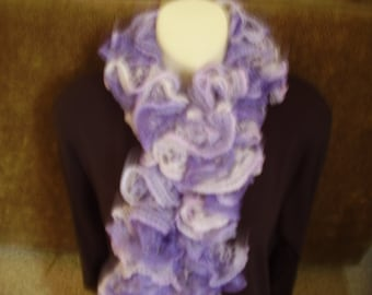 Knitted Lavender Ruffled Fashion Scarf