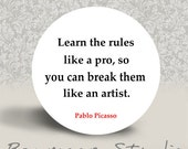 Learn the Rules Like a Pro - PINBACK BUTTON or MAGNET - 1.25 inch round