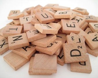 100 Scrabble Tiles - VINTAGE smooth and beautiful - Vintage Scrabble - letter tiles - alphabet tiles - wooden tiles