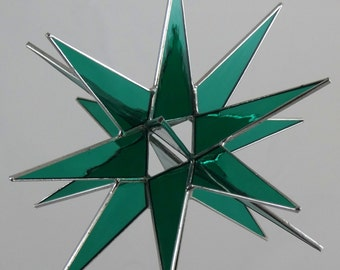 18 Point Teal Moravian Star - Glass Art by Joe Stained Glass Studio LLC