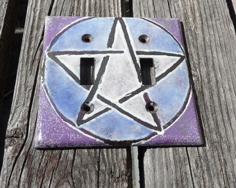 Switchplate Copper Enamel pentagram light switch cover plate enameled pentagram double toogle lighswitch plate purple