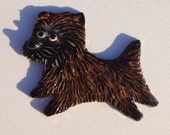 Ceramic Mosaic Tile or Brooch Pin Porcelain Cairn Terrier