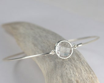 Clear Quartz and Sterling Silver Bangle Bracelet, Sterling Silver Bracelet, Crystal Bangle Bracelet, April Birthstone Bracelet [#830]