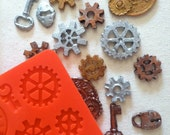 steampunk, gears, watch parts silicone rubber mold - 9 designs - resin, polymer clay, mod melts, candy, utee, plaster, wax, soap, epoxy clay