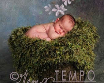 Moss Blanket Photography Prop for Babies Green 'Grass' Baby Blanket to Go Under Baby Photography Prop
