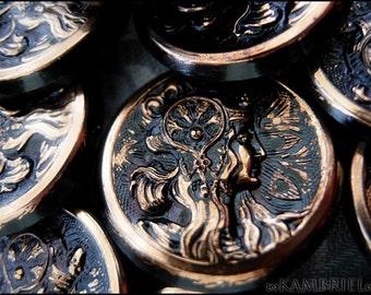 Antique Art Nouveau Czech Glass Button - Alphonse Mucha - Jet Black Gold - Bohemian Goddess - sold individually, up to 6 available