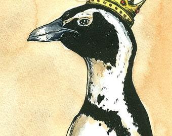 Penguin Queen  5 x 7 hand painted print