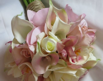Real Touch Pink and White Orchid, Rose and Calla Bouquet and Boutonniere Set