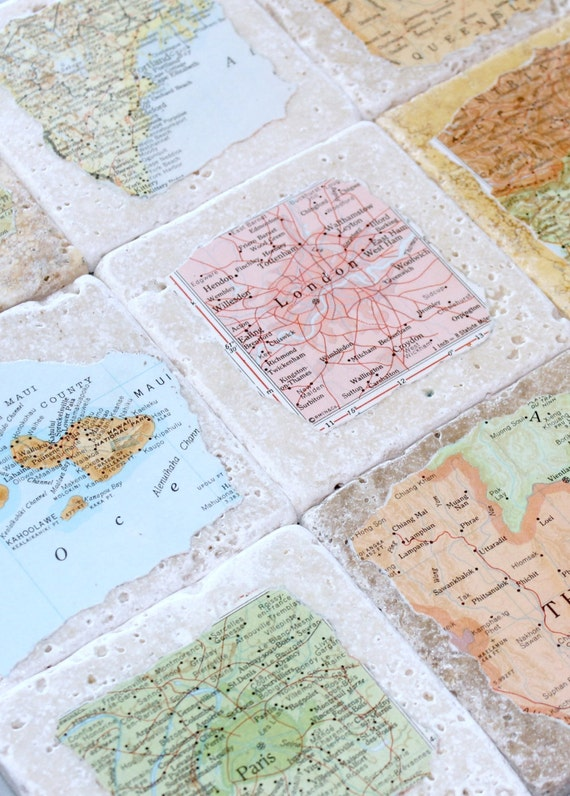 Natural Stone Vintage Map Coasters.  Fathers Day, Father's Day, Fathers Day Gift, First Fathers Day, Personalized Fathers Gifts