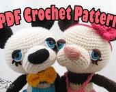 PDF Amigurumi / Crochet Pattern Boba and Chai the Sleepy Eye Giant Panda CP-14-3205