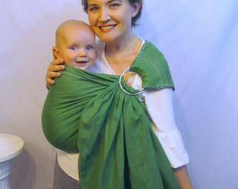 Linen Baby Sling Ring Sling Carrier - 100% LINEN in Watermelon Green - DVD included