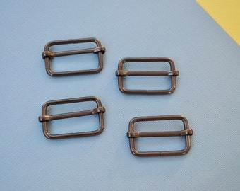 FREE SHIPPING--20 of 1 1/4  inch Gunmetal/Black Nickel Rectangle Strap Sliders