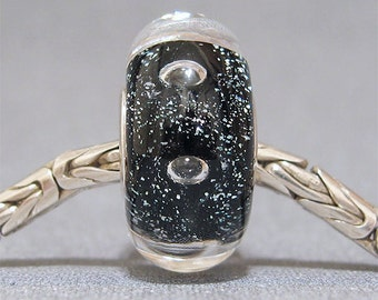SRA European Black Glass Glitter Charm Lampwork Large Hole Bead FitsTroll Bracelet Black Tie