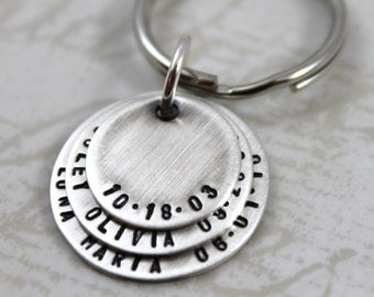 Mother's Day, custom keychain, Mens Personalized Dad Keychain, All Sterling Silver, Anniversary Gift, Gift for Dad, Father's Day