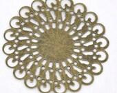 jewelry Bronze Tone Filigree Round Wraps Connectors 37x37mm findings  supplies DRW300  quantity 10