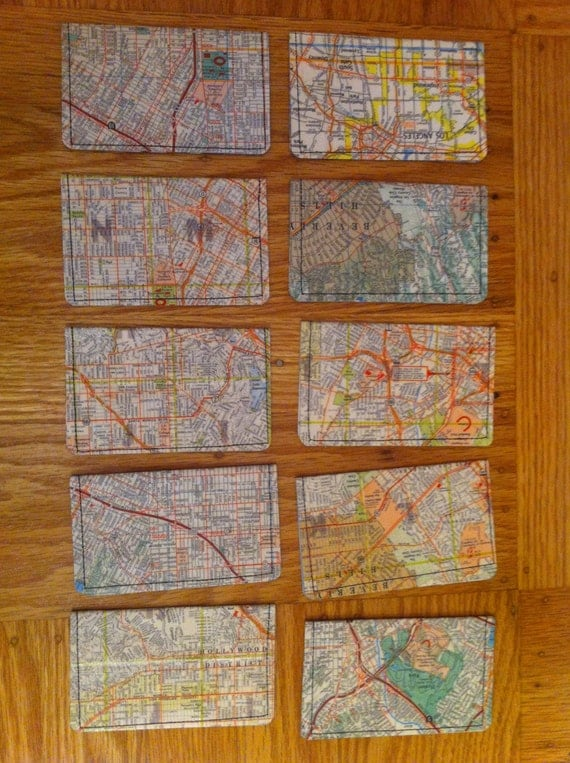 Reserved for susaheape 5 Slim Wallets- Vintage maps of LA and NYC