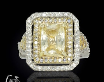 Rectangular Cushion Cut Yellow Sapphire Right Hand Ring with Diamonds - Custom Link for Nbal38 - 7th Payment