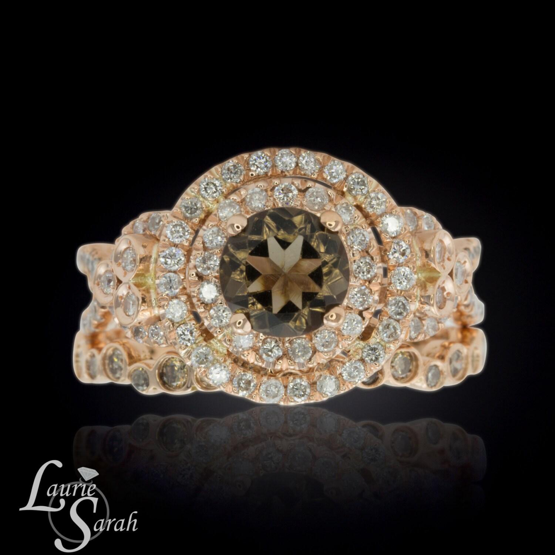 Quartz Wedding Rings Wedding Ring Set Rose Gold Smoky Quartz Engagement Ring