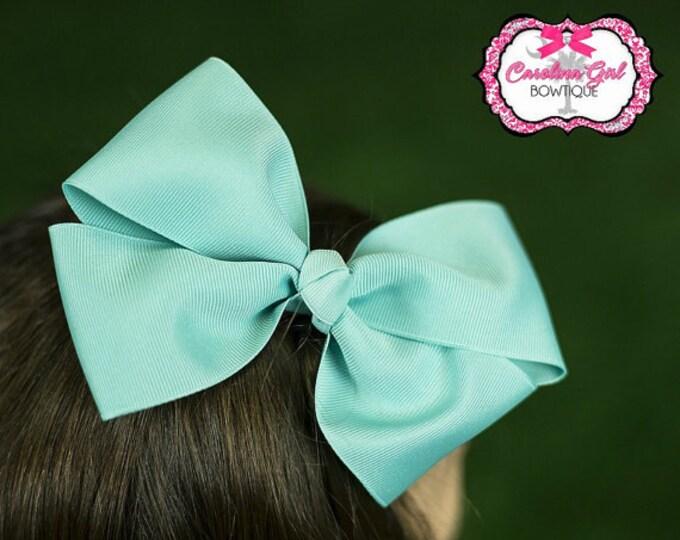 6 in. Aqua Hair Bow - XL Hair Bow - Big Hair Bows - Girl Hair Bows