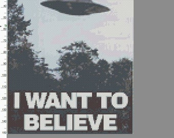 X-Files Pattern Only - I Want To Believe Poster Cross Stitch
