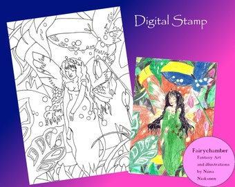 Fairy Queen Digital Stamp Instant Download Printable Fairy & Fantasy Art  Lineart for cards and crafts Fairy Illustration by Niina Niskanen