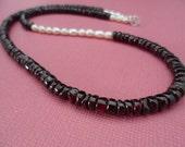 SALE 15% OFF - Elegant Pearl and Garnet Handmade Gemstone Necklace