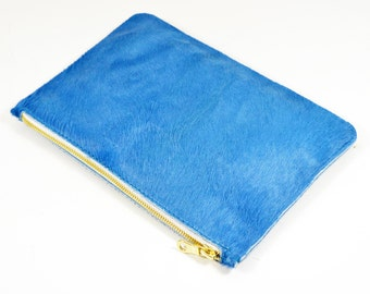 Coralie - Handmade Blue Hair On Hide Leather Clutch Bag Zip Pouch Purse