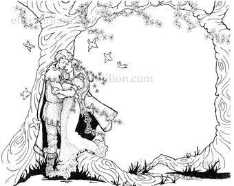 Fantasy Wedding Digi Stamp Digital Coloring Page - for marriage, engagement, or anniversary cards