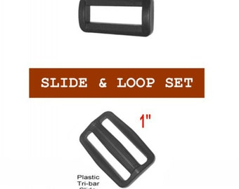 """20 SETS - 1"""" - Regular Mouth Slide and Loop SET, Tri Bar, 25.4mm - Your Choice of slot heights"""